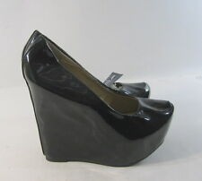 "new ladies Black 6""High Wedge Heel 2""Platform Round Toe Sexy Shoes Size 6.5"