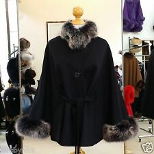 Black Cashmere Jacket With Snow Top Fox Fur Trim Beautifully Canadian Label