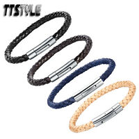 TTstyle Leather With Stainless Steel Clip-On Buckle Bangle Choose Colour