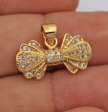18K Yellow Gold Filled - Bowknot White Topaz Zircon Hollow Cocktail Lady Pendant