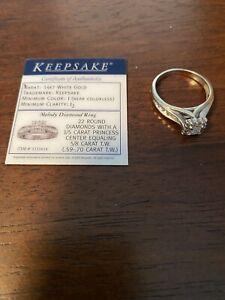 Diamond engagement ring 14K white gold princess Cut Keepsake. Size 8.5