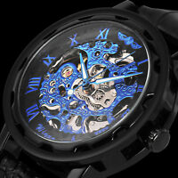 Mens Mechanical Skeleton Wrist Watch Analog Stainless Steel Sport Black Leather