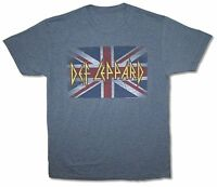 Def Leppard Union Jack Distressed UK Flag Heather Blue T Shirt New Official