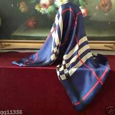 "New Women silk oversized Nava Check Plaid long scarf shawl wrap 36""x70"" Navy"