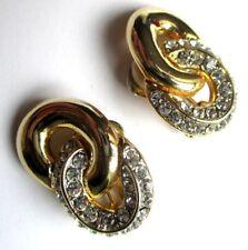 Belles boucles d'oreilles clips couleur or cristaux diamant bijou vintage 5052