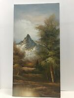 "Mountain Landscape Signed Original Acrylic Painting Fall Autumn 24""x12"""