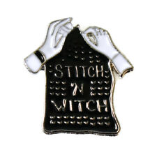 Stitch n Witch Enamel Pin Label Brooch Craft Wicca Wiccan Pagan