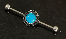 """Steel Industrial Barbell 14g 1.5"""" (38mm) 1 Pc Turquoise Burnish 316L Surgical"""