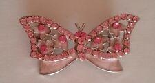 Brosche Anstecknadel Schmetterling 4,5 cm rosé Strass-Steine *NEU*
