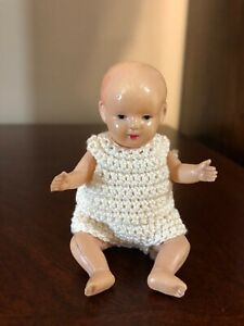 """ADORABLE...VINTAGE CELLULOID MINIATURE BABY DOLL  Moveable Arms Legs 4"""""""