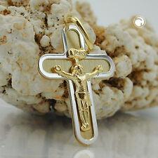 NEW 9K GOLD Cross / Crucifix Pendant / Charm. Yellow and white gold. (431333)