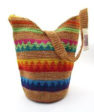 BOHEMIAN CROCHETED GABACHA BAG MEDIUM HOBO HANDBAG TAN STRIPE DESIGN ~ NEW