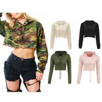 Moxeay Womens Hooded drawstring Crop Top Hoodie Sweatshirt Jumper Pullover Tops