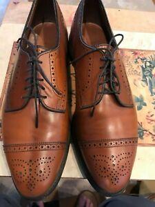 Allen Edmonds Sanford Walnut Cap Toe Medallion Derby Half Brogue Men Shoes 10D