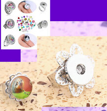 DIY Creative HOT Silver Open End Ring fit 18mm Snaps Chunk Charm Button