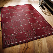 Checked Flatweave Kitchen Rugs Runners Anti Slip Back GEL Red 060 X 110 Cm