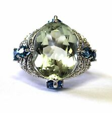 14k white gold womens diamond .01ct topaz green amethyst ring ladies 6.2g estate