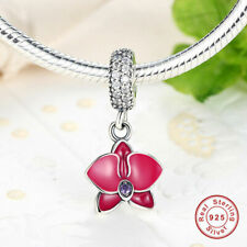 Flower Orchid Dangle Charm CZ Radiant Pendant Genuine 925 Sterling Silver