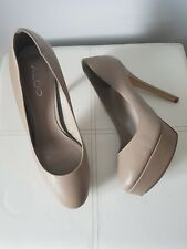 Aldo Women's Nude Leather Platform Stiletto Heel Court Shoes UK Size 5 EUR 38