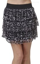 Leopard Lace Print Tiered Thigh Length Mini Skirt Casual Nylon Spandex S M L