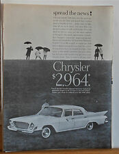 1961 magazine ad for Chrysler - Chrysler Newport, full sized room no Jr. edition