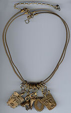 MARJORIE BAER FAB VINTAGE BRASS FROG ARMADILLO FACES DANGLE AMULETS NECKLACE
