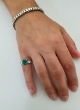 18K White Gold 2.67 TCW Emerald & Diamond Cocktail Or Engagement Ring, Size 5.75