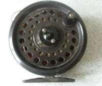 VINTAGE METAL FISHING REEL - THE INTREPID RIMFLY REGULAR -  3 1/2  INCH DIAMETER