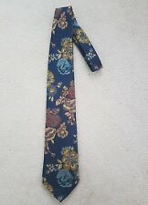 Marks And Spencer Blue Floral  Pattern Multi Colour Mens Tie