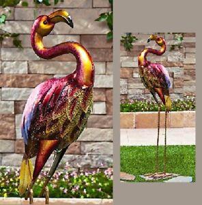 "Colorful Metal Flamingo Sculpture Yard Art Garden Decor Patio Bird Statue 37""H"