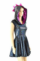 Black Dragon Scale CapSlv Skater Dress w/Fuchsia Hood Pink Spikes MADE TO ORDER!