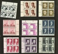 USA Postage Stamps Collection SC# 1278-1295 Blocks PROMINENT AMERICANS ISSUE MNH