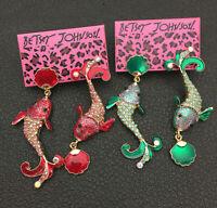 Women's Red/Green Enamel Crystal Cute Fish Shell Betsey Johnson Stud Earrings