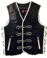 Motorcycle Leather Vest Designer Custom Motorbike Biker Rider Waistcoat Braided
