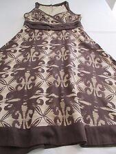 PRINCIPLES PRETTY BROWN & BEIGE ABSTRACT FLOWER PRINT COTTON SUMMER DRESS UK 10