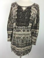 Erika Womens size 2X Plus Size Knit Shirt Top Brown Embellished Ruched Sides