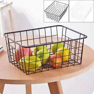 2pcs Iron Storage Basket Metal Wire Mesh Basketry Bathroom kitchen Tray Desk UK