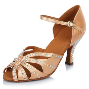 Latin Dance Shoes Women 6.5cm Heel Satin Professional Ballroom Tango Dance Shoes