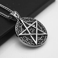 Silver Pentagram Star Pendant Stainless Steel Chain Necklace Gothic Pentacle