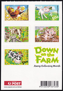 2005 Down on the Farm Postage Booklet. S/A Set of 5 UNFOLDED MINT