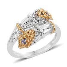 DESIGNER GENUINE TANZANITE  LILY OF THE VALLEY BYPASS RING SIZE 8  SYMBOL