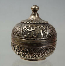 Antique Vintage Persian Sterling Silver 800 marks Box with calligraphy