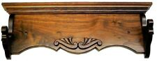 "Walnut Wooden Gun Rack Antique Rifle Shotgun Wall Display w/ Carving 2"" Hangers"
