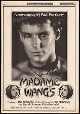 MADAME WANG'S__Original 1981 Trade print AD / poster__PAUL MORRISSEY_Andy Warhol