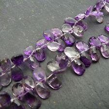Moss Amethyst Faceted Pear Briolettes  - set of 5 beads Semi Precious Gemstone