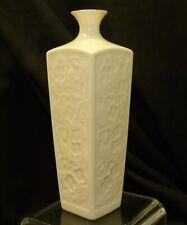 """Vtg Lenox Embossed Cherry Blossom 7 1/4"""" Square Budvase Vase w/ Gold Made in USA"""