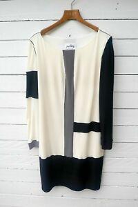 Joseph Ribkoff dress knee length black/cream/taupe asymmetric colour block S 10