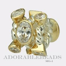 Authentic Chamilia Silver & 14kt Gold Marquis Mixed CZ Bead MG-1  RETIRED