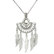 K744 Native Filigree Half Moon Beaming Sun Silver Pearl Cage Feather Necklace