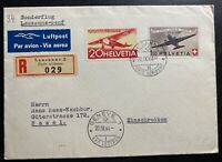1944 Lausanne Switzerland Airmail cover To Basel  Sc# C40